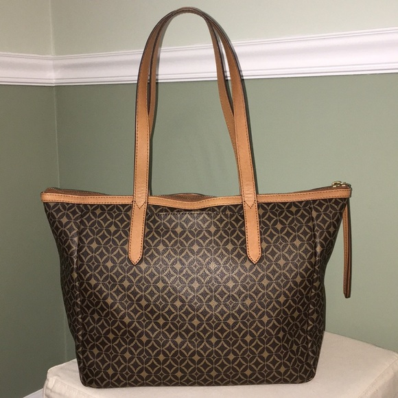 e40035c4ee63 Fossil Handbags - Fossil Sydney Tote Brown Tan Print Leather Trim